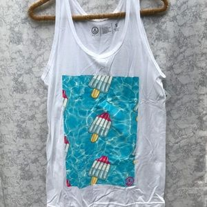NWT Neff Popsicle tank Top Sz S white pool red